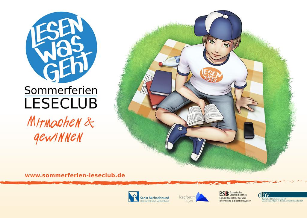 Website-Button Sommerferien-Leseclub 2018 Lesender Junge